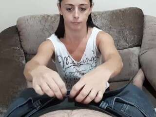 Brunette Alicia Tyler with massive jugs and shaved twat gets a mouthful of man meat in oral action w Thumb