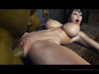 Anal Invasion and vaginal hook-up with 2 Orcs and a female with phat fun bags - 3D Toon Thumb
