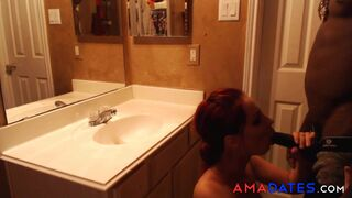 Sandy-haired pounded by a ebony guy in the shower Thumb