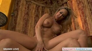 Gitta Blond with small boobs and shaved pussy fills the hole between her legs with dildo for the cam Thumb