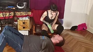 Slender punk domme feeding her gimp facehole to gullet pt2 HD Thumb