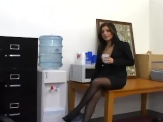Xxx office fuck-fest with a buxomy assistant in crotchless hosiery Thumb