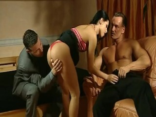Extra Gorgeous Blonde Amanda Paris interracial gangbang &amp_ DP! LOVES IT! Thumb