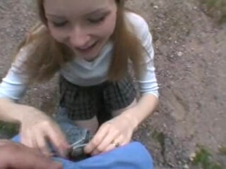 Inexperienced 'Schollgirl' Outdoor Blowjob, Deepthroat, Guzzle Thumb
