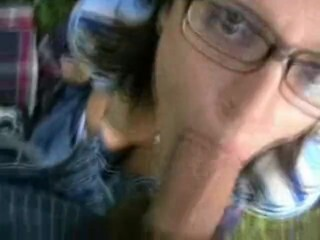 First-timer with Glasses, Outdoor Blowjob, Facial Cumshot Thumb