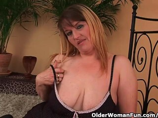 Massive titted mother likes his knuckle and manhood in her mature cunny Thumb