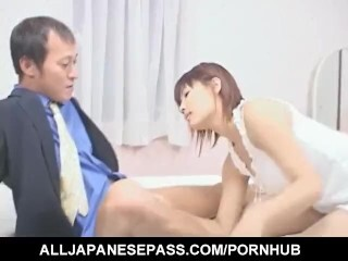 Mirai Hoshino munches and fellates manstick she gets in her clean-shaved cunt Thumb