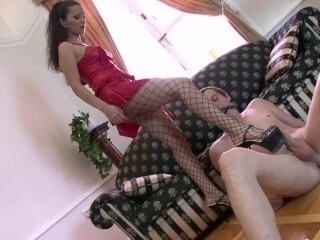 Julia in fishnet stocking screwing her fortunate sub Thumb