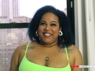 Damaris Rivera aka Goddess Slobber gargles and guzzles meatpipe on BBWHighway.com Thumb