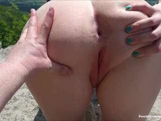 Public Plow and Creampie! Risky Trail Clifftop Intercourse Thumb