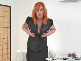 Redheaded cougar Alex from Europe peels off off and thumbs both fuck-fest fuck-holes Thumb