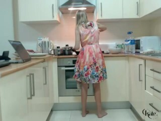 Knockers Adorable Platinum-blonde Topples In The Kitchen With Dark-hued Underpants Thumb