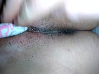 Filthy Chatting Taut Fur Covered Cougar Cunt Finger-banged & Screwed Close Up Thumb