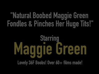 Inborn Titted Maggie Green Massages & Pins Her Massive Tits! Thumb
