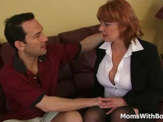 Ginormous Titty Sandy-haired Cougar Calliste Labia Bang In Stocking Thumb