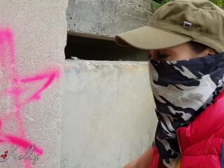 Graffiti damsel caught and smashed by proprietor receive a jism in mouth. WetKelly Thumb