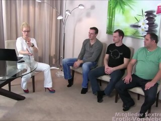 Ärztin Gang-fuck - scorching blondie physician used by trio weenies to inexperienced sexorgy Thumb