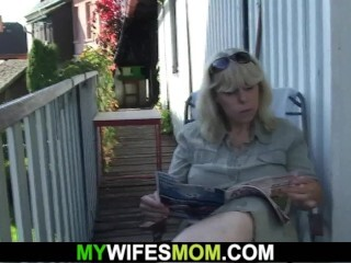 Doggy-style boning elderly towheaded mother-in-law outdoors Thumb