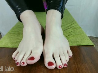 Point Of View Strong Foot Wank in Catsuit, w/ Well-lubed Nude Feet, then Spandex Toe Socks Thumb
