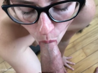 Nerdy curvaceous nubile GF muddy BJ & harsh doggy-style hookup with massive jism laod Thumb