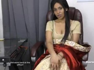 Indian damsel frolicking with puss Thumb