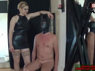 Abgebundener Schwanz - raunchy female domination lesson with strapped pecker and aggressive cock ball torture Thumb