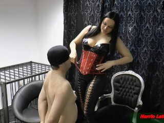 Ohrfeigen - slapping in the face of enslaved gimp at female dom sesh Thumb