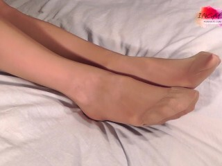 IngaFeet taunting in glossy pantyhose. I want to sense jizz on my feet. 6 min. Thumb