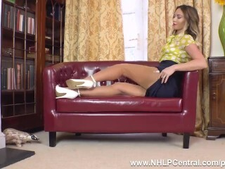 Super Hot ash-blonde Natalia Forrest frigs cock-squeezing cootchie in retro girdle nylons stilettos Thumb