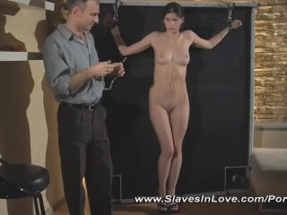 Pretty Bondage & Discipline gimp predominated with puffies clamps, singletail whips and whip. Thumb